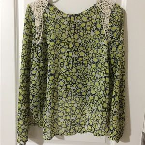 Green floral butterfly back top
